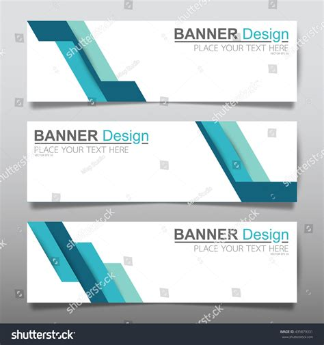 header design simple collection blue horizontal business banner set stock