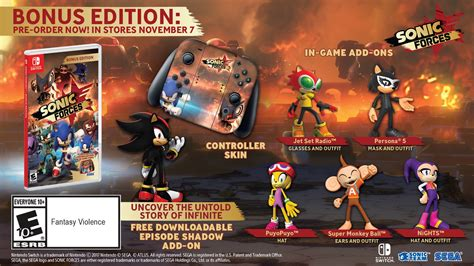 Nintendo Switch Sonic Forces Standard Edition sonic forces episode shadow free dlc announced for launch perfectly nintendo