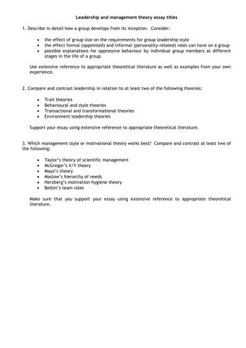 Leadership Essay Titles by Leadership And Management Theories By Jayne890 Teaching Resources Tes