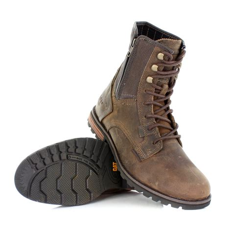 mens shoes caterpillar andreas black leather canvas rugged