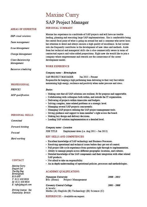 SAP project manager resume, sample, job description