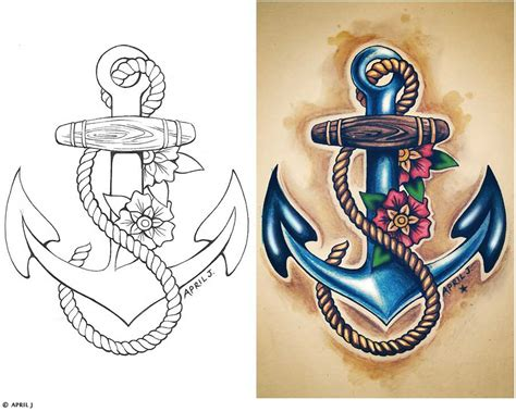 anchored art tattoo traditional school tattoos anchor ship pin