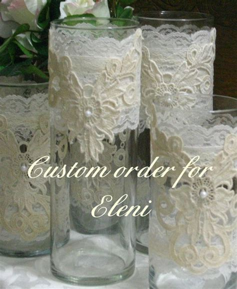 Vintage lace flower wedding vases, wedding centerpiece