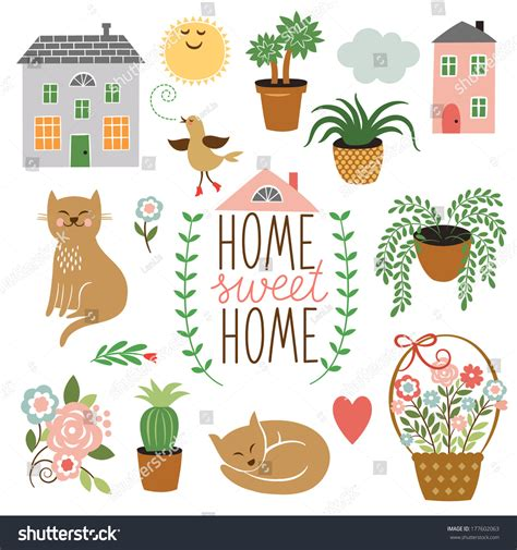 design elements home home sweet home set vector design stock vector 177602063