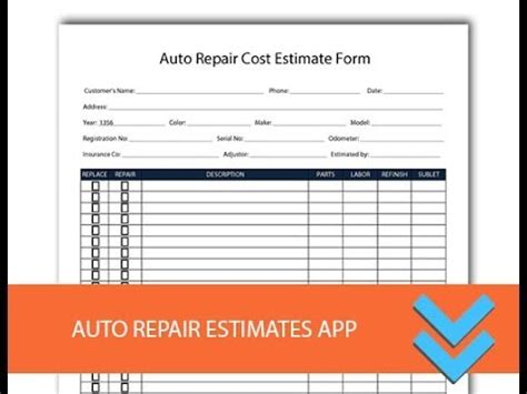 free shop estimate template free auto repair estimates form freedform