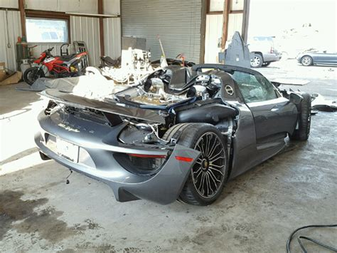 porsche 918 crash porsche 918 spyder turns up at salvage auction