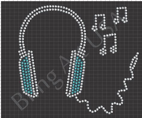 headphones rhinestone design pattern file download stencil