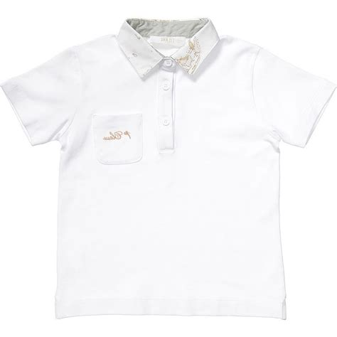 alviero martini boys white cotton polo shirt children