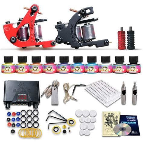 tattoo gun kits for beginners beginner tattoo starter kits 2 guns machines 10 ink sets