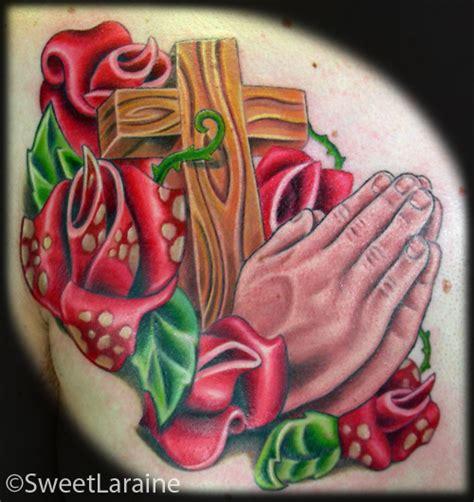 17 praying with roses praying praying roses by sweet laraine tattoonow
