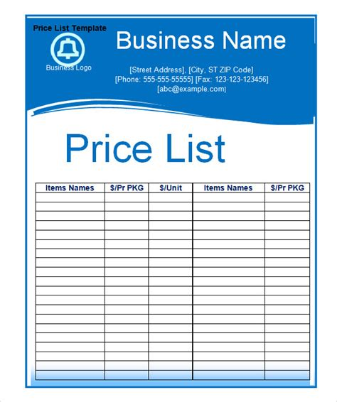 business price list template free sle price list template 5 documents in pdf