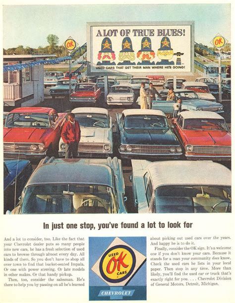 used car ads 1964 ad chevrolet ok used cars automobile car lot