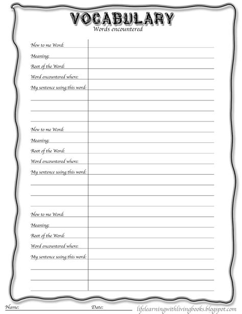 vocabulary worksheet templates 8 free pdf documents download