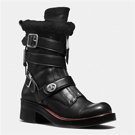 moto boot coach zip moto boot in black lyst