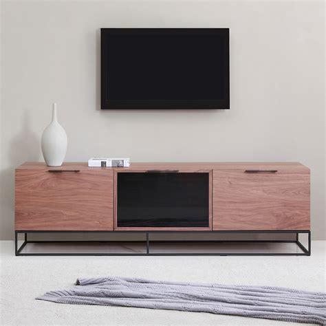 Dynamic Home Decor B Modern Bm 160 Brn B Animator 71 Quot Contemporary Tv Stand In Light Walnut W Black Ir Glass On