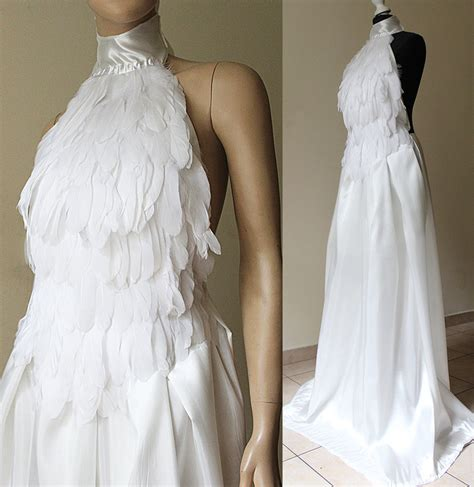 White Swan Dress white swan elven wedding feather dress i by pinkabsinthe