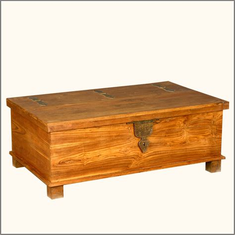 Coffee Table Storage Trunk Rustic Teak Wood Wrought Iron Distressed Coffee Table Storage Box Chest Trunk