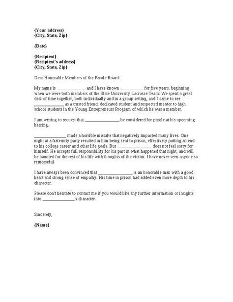 Parole Cover Letter by How To Write A Parole Letter Articleezinedirectory