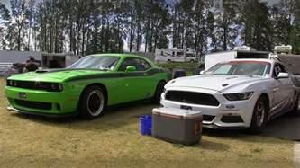 800 horsepower challenger hellcat vs cobra jet mustang 1 4