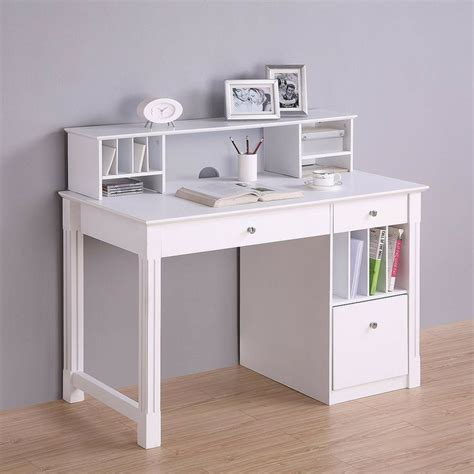 Deluxe Solid Wood Desk With Hutch White Target White Desk