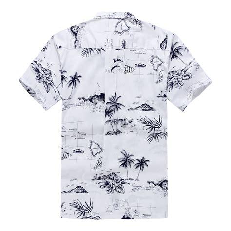 White Hawaiian Shirt by Palm Wave S Hawaiian Shirt Aloha Shirt White Map Beachwear Central