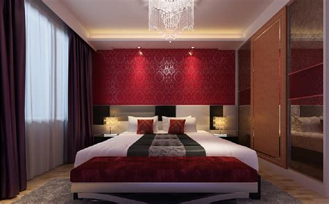 red and purple bedroom interior design