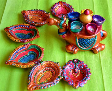Handmade Diwali Diyas - handmade decorative diyas for diwali two pearls and an