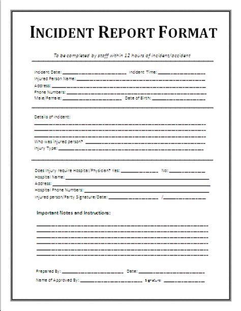employee incident report template 7 incident report form template word printable receipt