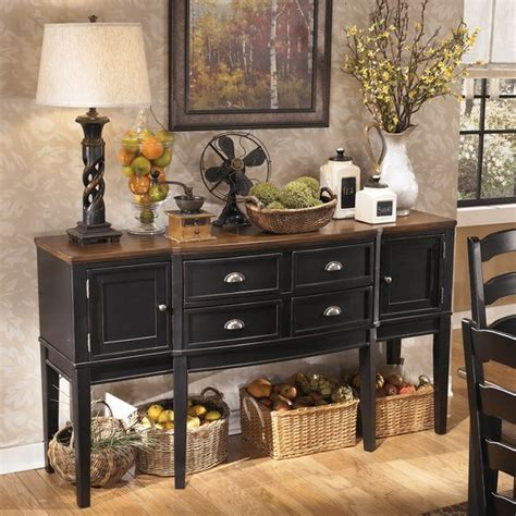 black dining room buffet signature design by ashley owingsville black brown