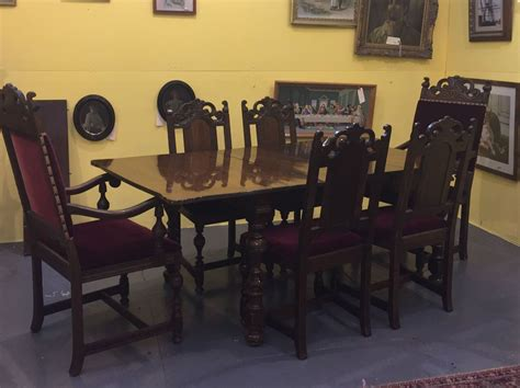 antique berkey walnut dining room set chairs