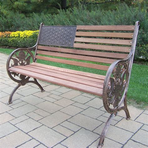 iron bench outdoor oakland living proud american old glory flag cast iron and