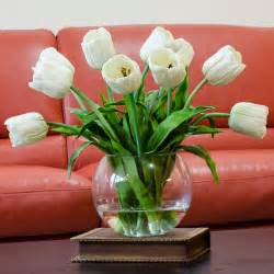 Home Decor Silk Flower Arrangements Real Touch White Tulip Faux Arrangements Centerpieces For Home Decor Contemporary