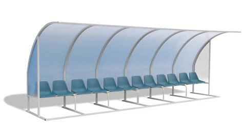 panchina calcio pensilina con panchina e sedili per impianti sportivi