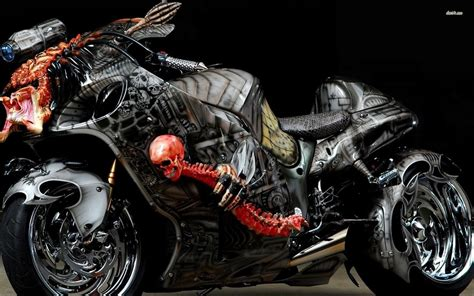 custom suzuki hayabusa the predator bike front three
