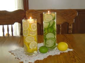 using apple as vase   Lemon Lime Centerpiece And Pretty