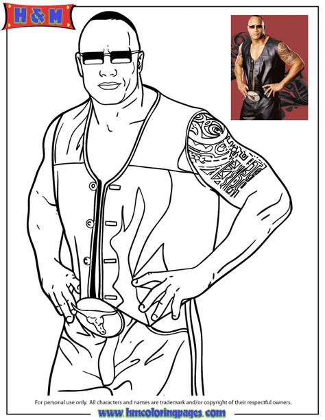 wwe superstar the rock coloring page h m coloring pages