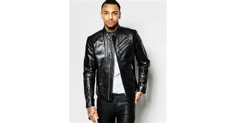 Diesel Leather Set Rubber 3 Diesel Leather Biker Jacket L Oyton Zip Detail In Black In