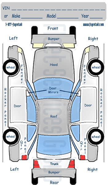 vehicle report diagram 6 best images of commuter damage inspection diagram