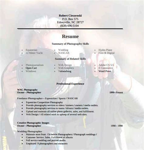 photography resume template sle photographer resume template 19 in pdf