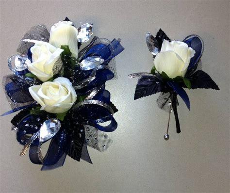 Corsage Blue Silver navy blue black corsage boutonniere set white silk