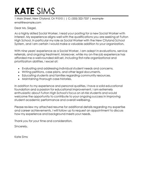 Caseworker Cover Letter by Leading Professional Social Worker Cover Letter Exle Cover Letter Exles Resources