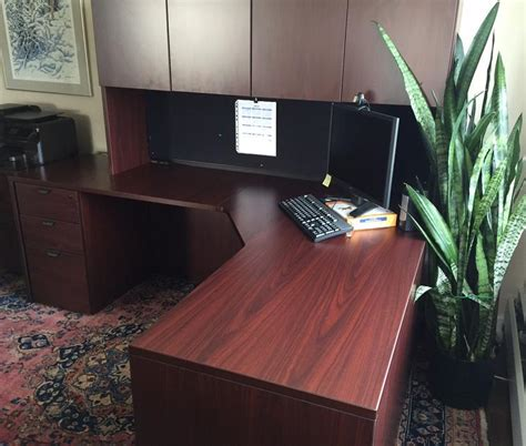 Desk L Vancouver by L Shaped Desk With 3 Drawers Overhead Cabinets And Hutch