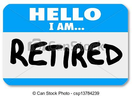 drawings of hello i am retired words nametag sticker older