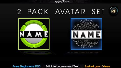 free avatar pack template layout changeble text by