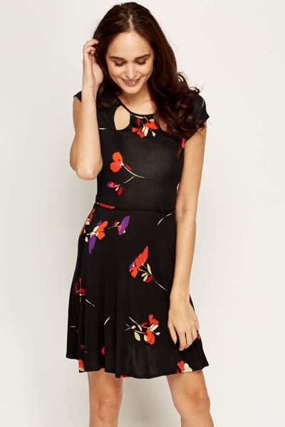 Cut In A Line Dress cut out neck floral a line dress just 163 5