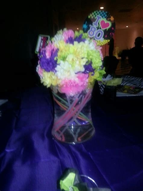 glow stick centerpieces 62 best images about back to the 80s on neon