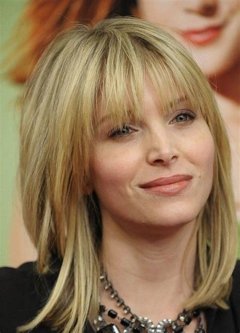 great layered blunt cut with bangs 26 hairstyles for medium length hair modern haircuts
