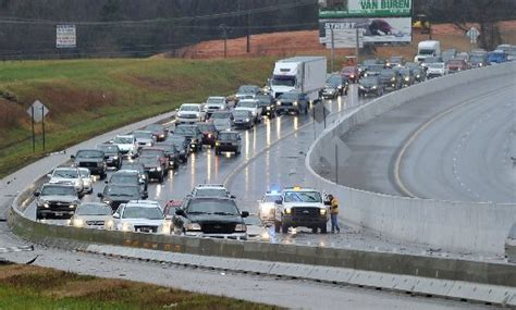 Traffic backs up in the northbound lane of interstate 49 south of the