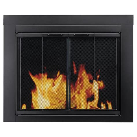 Fireplace Glass Panels by Shop Pleasant Hearth Ascot Black Small Bi Fold Fireplace