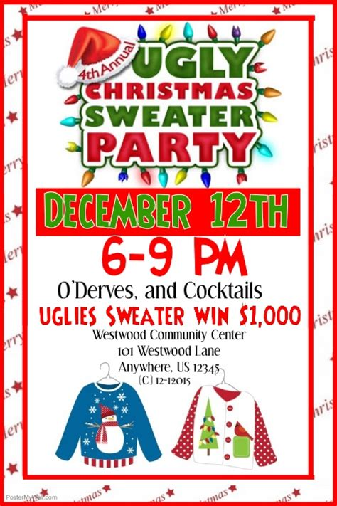 Ugly Sweater Contest Flyer Template Long Sweater Jacket Sweater Flyer Template